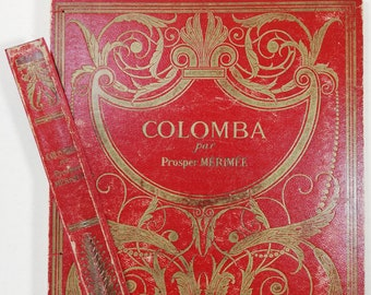 Notebook Colomba ancient cover 1840 Red Gold with Bookmark