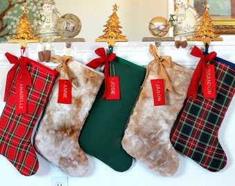cb7a426f5cc Personalized Christmas Stockings - Includes Names - Plaid Tartan Fur  stockings - Classic Modern stockings - Made in USA