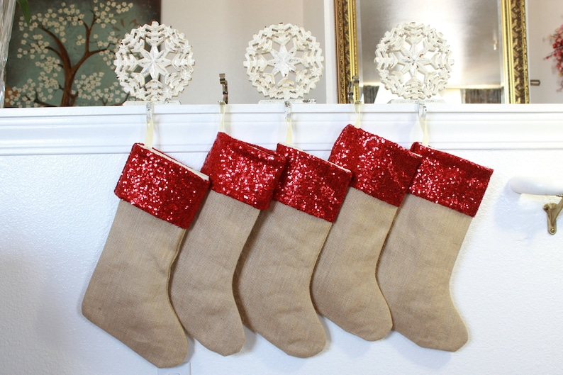 Red Christmas Stockings Set Of Five Includes Name Tags Set Of 5 Christmas Stockings In Burlap And Red Sequins Shiny Made In Usa