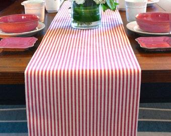 Christmas Table Runner / Red Stripe Table Runner / Holiday Table Runner / FULLY Lined