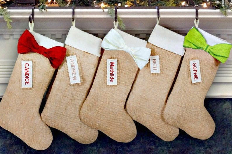 fde4ec379da3 Personalized Burlap Christmas Stockings Includes Name Tags
