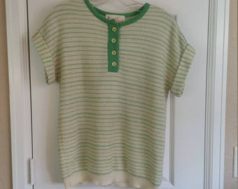 1960s James Kenrob Short Cap Sleeve Button Up Striped Green Ivory Sweater - Large