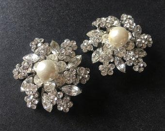 Glamours Round Pearls Swarovski Rhinestones Crystals Shoe Clips, Wedding Bridal Bridesmaids Shoe Clips, Dance Shoe Clips, Wedding Shoes