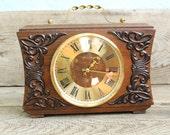 Vintage Table Clock Soviet USSR mechanical Table Clock Vesna wooden mantel clock working order rare clock antique table clock