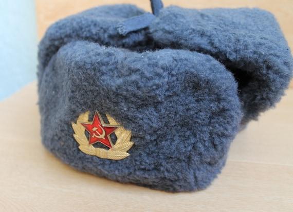 Vintage Soviet Army soldiers USHANKA warm winter hat Soviet  ecfae88ffd87