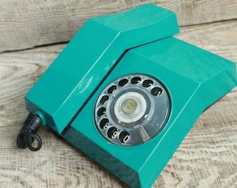 rotary phone Vintage Soviet  rotary telephone Spektr / 1985 year / circle dial rotary phone / vintage landline phone / Old Dial Desk Phone