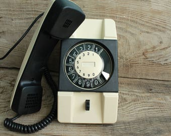 Genuine retro phone / Vintage rotary phone / Telkom RWT Poland / circle dial rotary telephone / vintage landline phone / Old Dial Desk Phone