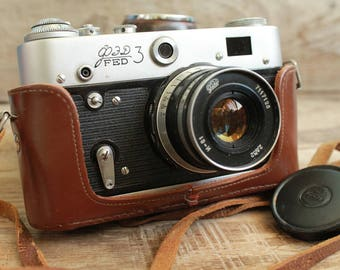 rare camera / vintage collectible camera / Old Vintage Soviet  Camera  FED 3 / with lens Industar - 61  / camera 35 mm photo camera ФЭД СССР