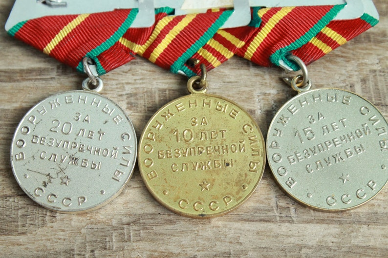 3 Vintage Soviet  military medals on one block USSR Armed Forces for 10 15 /& 20 years  Irreproachable Service