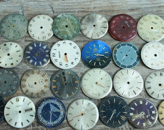 """watch faces / 1.1"""" - 1.2"""" /  set of 25  vintage watch faces ...  watch dial, circle ... old vintage watch parts ... steampunk supplies"""