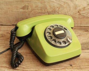 vintage phone / old rotary phone TA-600 / made in Bulgaria 1987 year / circle dial rotary phone / vintage landline phone Old Dial Desk Phone