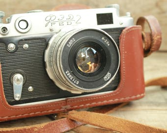"rare camera / vintage collectible camera / Old Vintage Soviet  Camera  FED 2 / with lens "" Industar - 26 M  / camera 35 mm photo camera"