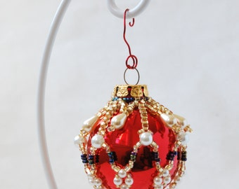 Beaded Shiny Red Glass Christmas Ornament