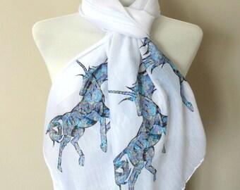 Unicorn Scarf. White scarf with Unicorn print. Boho scarves.