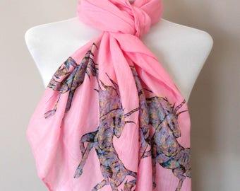 Unicorn Scarf. Pink scarf with Unicorn print. Boho scarves.