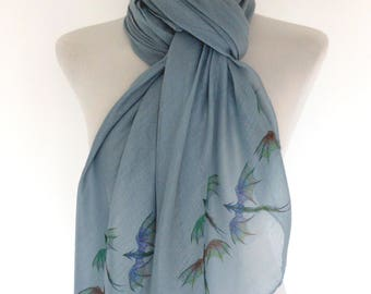 Dragon scarf. Grey scarf with smaller Dragon print. Boho scarves.