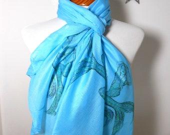 Mermaid scarf. Turquoise scarf with Mermaid print. Boho scarves.
