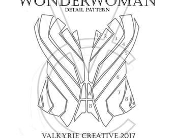 Wonderwoman Corset Detail - Printable Pattern