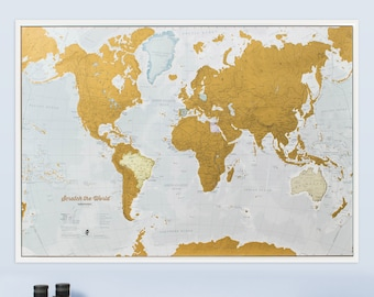United States of America State Scratch Off Travel Map Large 32 by 24 Inch Poster Using Customized Photographs for Every State