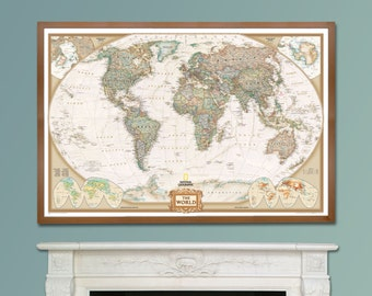 Framed world map etsy national geographic world executive map framed home decor wall hanging gift bedroom map poster study map of the world push pin map gumiabroncs Images