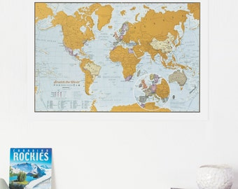Rockies On World Map.Scratch Off Rocky Mountain Peaks Map Poster Rockies Gift Etsy