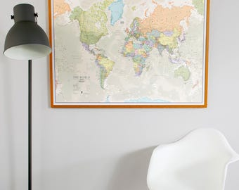 Huge classic world map 775 x 46 vintage elegant home etsy classic world map home decor living room bedroom wall art vintage map large world map push pin map gift for him gift for her gumiabroncs Images