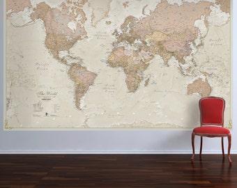 Huge Classic World Map X Vintage Elegant Home Etsy - Huge world map for wall