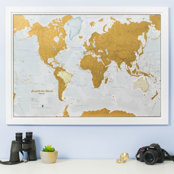 Scratch the World ® scratch off places you travel map print | Etsy