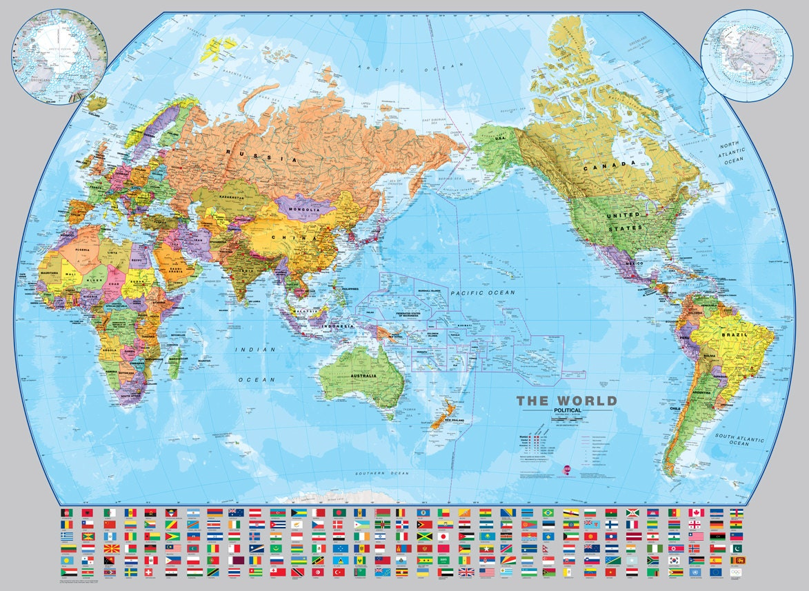 Study World Map.World Pacific Centered Wall Map Fully Laminated Political Etsy