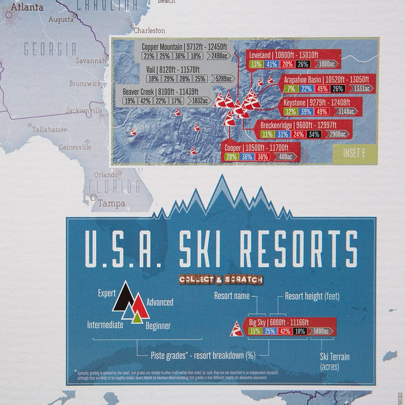 Scratch Off Usa Map Skiing Print Ski Poster Gift For Him Etsy