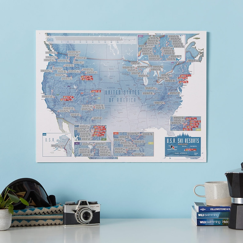 Scratch Off USA Map Skiing Print - Ski poster - gift for him, gift on locations of ski resorts map usa, map of utah ski resorts, map ski centers in usa, map ski resorts in france,
