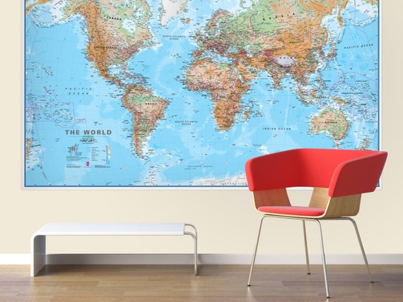 Huge World Wall Map Physical Without Flags Gift Home Etsy