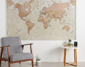 Huge Antique World Map, 77.5 x 46, Vintage, elegant, home decor, home, bedroom, living room, wall art, map poster