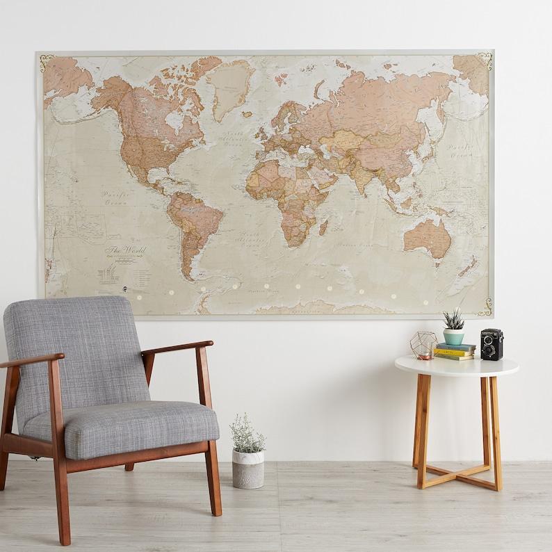 Huge Antique World Map 77.5 x 46 Vintage elegant home | Etsy