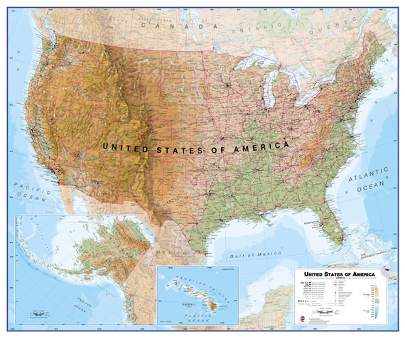 Physical Map of the USA - home, bedroom, quality USA map, office, gift, on outline map of il, topographic map of il, blank map of il, color map of il,