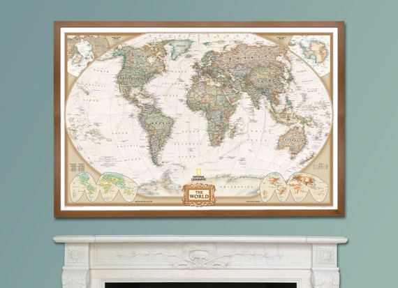 National geographic world executive map framed home decor gumiabroncs Gallery