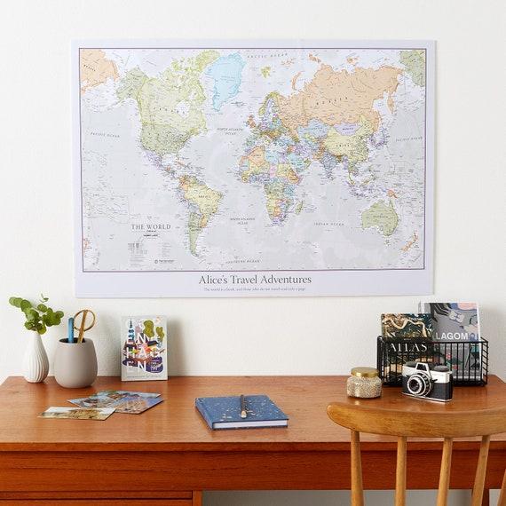 Clic Personalized World Map push pin map wall hanging | Etsy on