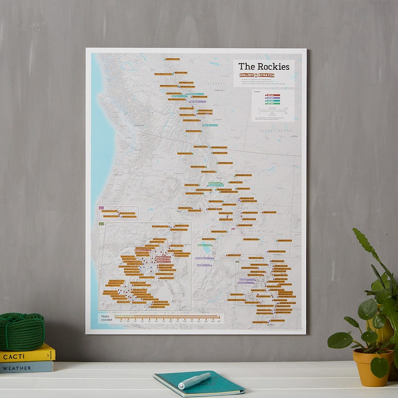 Scratch Off Rocky Mountain Peaks Map Poster - Rockies, gift for him, gift  for her, scratch off, USA map, travel gift, gift