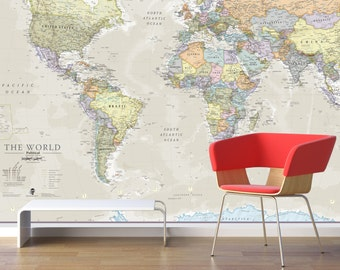 Giant World Map Mural - Classic - Home Decor, Living Room, Bedroom, World Map Wall Decal, Wall Art, vintage map, world map wallpaper