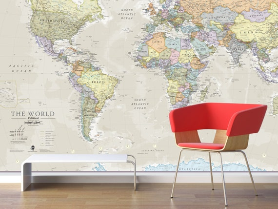 Giant World Map Mural - Clic - Home Decor, Living Room, Bedroom, World on map tiles, map of america, map art ideas, map canvas painting, map wallpaper, map posters, map craft projects, map tattoo designs, map t-shirt designs, map border designs, map book covers, map wall decal, map still life, map wall art,
