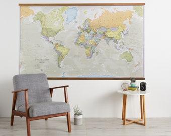 Huge Classic World Map Poster Wooden Hanging, 46 x 80, Vintage, elegant, home decor, home, bedroom, living room, map of the world
