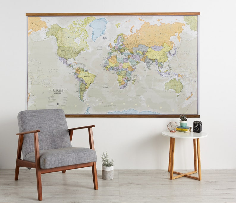 Huge Classic World Map 77 5 X 46 Vintage Elegant Home Etsy