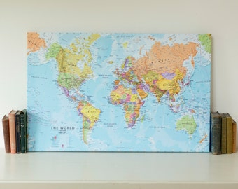political map of the world canvas home decor bedroom living room