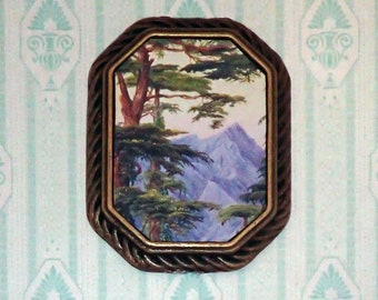 Miniature 1:12 Dollhouse Painting - Marianne North - Deodars and the Choor Mountain from Nahl Dehra, India