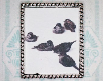 Miniature 1:12 Dollhouse Painting - Arthur B. Frost - Sparrows in the Snow