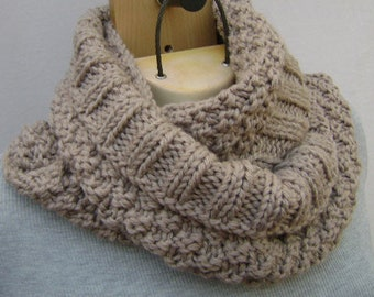 Hand Knit Infinity Scarf. Loop Scarf. Circular Scarf. Taupe Scarf. Circle Winter Scarf. Gift for Her.