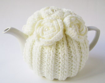 Cream Hand Knit Tea Cozy with Crocheted Flowers.Wool Knit Tea Cozy. Teapot Cosy. Teapot Cover. Tea-lovers Gift.