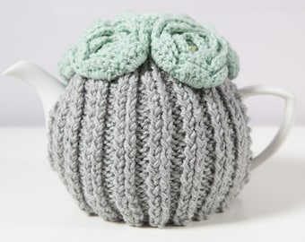 Grey Hand Knit Tea Cozy with Mint Green Crocheted Flowers. Teapot Cozy. Hand Knit Tea Cozy. Teapot Cover. Tea-Lovers Gift.