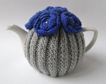 Silver Grey Hand Knit Tea Cozy with Royal Blue Crocheted Flowers. Knit Teapot Cozy. Teapot Cover. Tea-Lovers Gift.