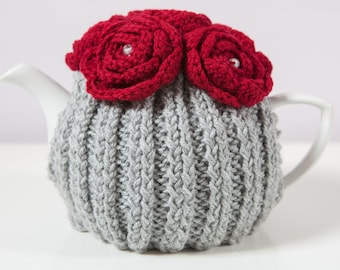 Silver Grey Hand Knit Tea Cozy with Red Crocheted Flowers.Teapot Cozy. Hand Knit Tea Cozy. Teapot Cover. Tea-Lovers Gift.